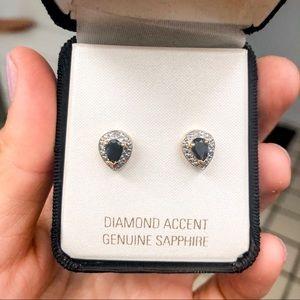 Diamond Accent Genuine Sapphire Earrings